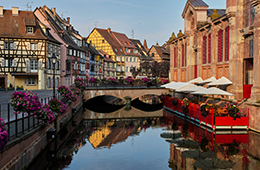 Alsace river view with historial buildings