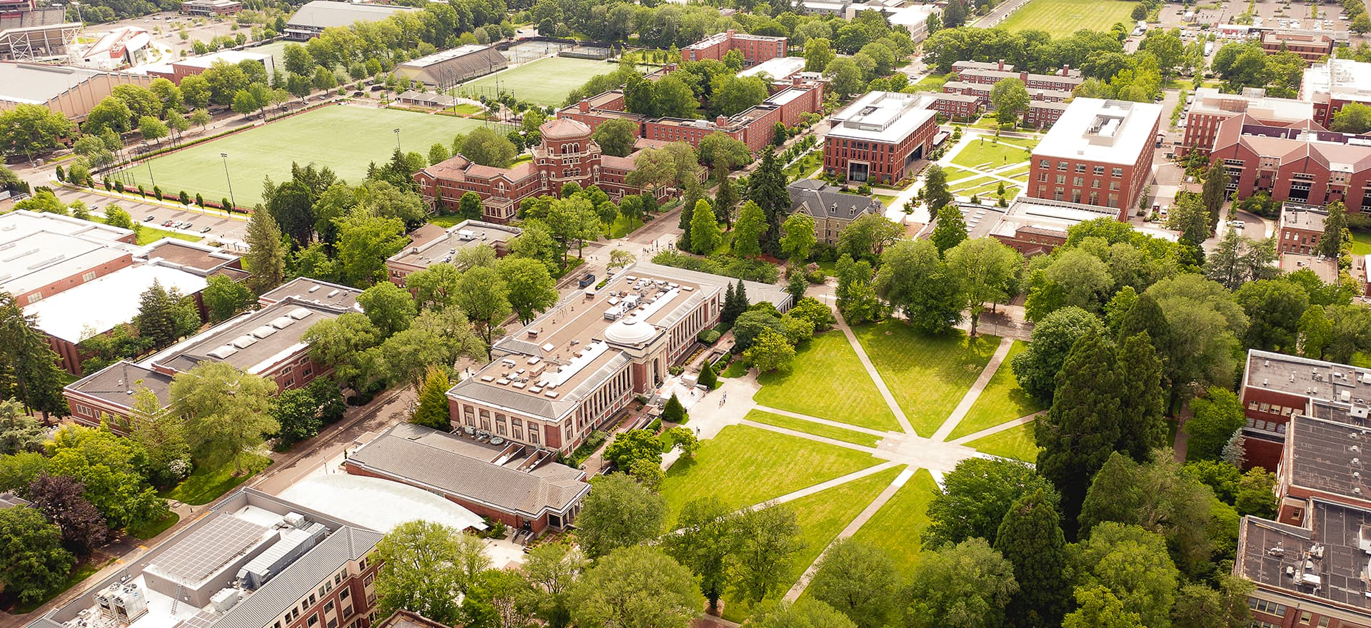 Aerial image showing the MU, quad, Weatherford and IM fields. Lots of greenery and trees as well.