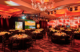 image of ballroom decorated for dinner event