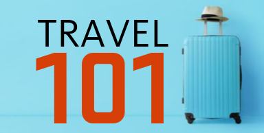"""image showing text """"travel 101"""" with blue suitcase"""